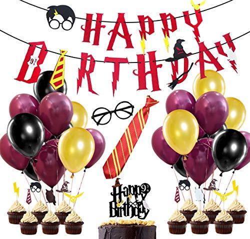58 Piezas Suministros para la Fiesta de Harry Potter, Estandarte de cumpleaños, Rojo Vino, Corbata a Rayas, Gafas de Mago, Primeros de Pastel para Decoraciones de Fiesta de cumpleaños
