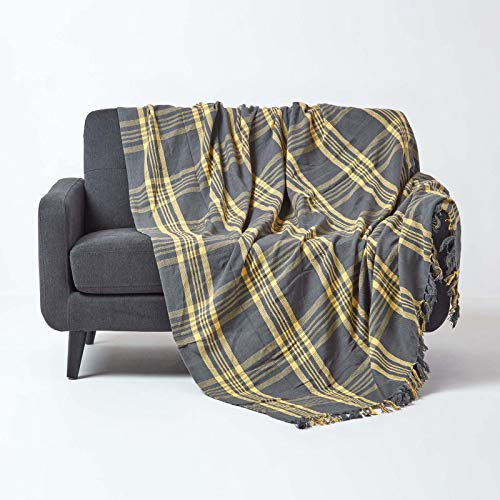 HOMESCAPES Medium Grey & Yellow Tartan Throw 60 x 80 Inches or 152cm x 203cm, 100% Cotton Sofa throw for Most 2 Seater Settees and Sofas