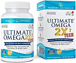 Nordic Naturals Ultimate Omega 2x Teen - Nordic Naturals Omega 3 Formula for Cognitive Development, Learning and Mood in Teenagers, Soft Gels - 60 Count