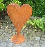 terracotta-toepfe-de Herz 70 cm aus Metall, bepflanzbar in Edelrost Optik, Deko für Garten und Wohnung Valentinstag