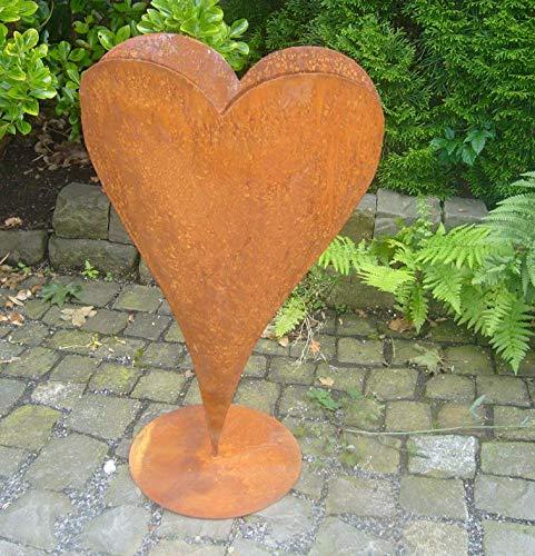 terracotta-toepfe-de Herz 60 cm aus Metall, bepflanzbar in Edelrost Optik, Deko für Garten und Wohnung Valentinstag
