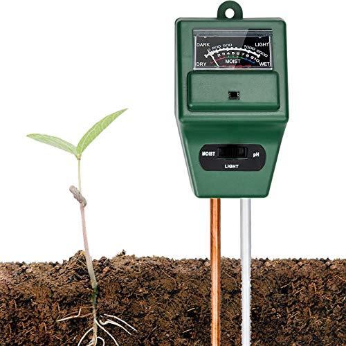TDDL Higrometro Plantas, Medidor ph Tierra Medidor Digital 3 en 1 de la Humedad del Suelo y la acidez del PH Medidor de Humedad del Suelo Ideal para jardín, césped, Granja