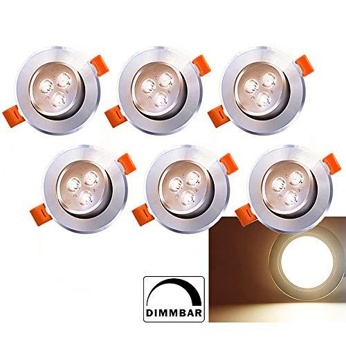 Hengda 6 x LED Einbaustrahler Dimmbar 230V/12V 3W Warmweiß Einbaustrahler 245lm Deckenstrahler Schwenkbar Deckeneinbaustrahler Einbauspot Spot