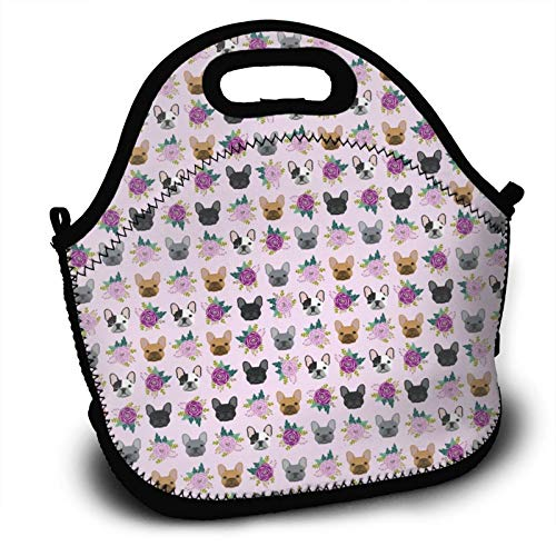 SWEET TANG Thermal Lunch Bags French Bulldog Frenchie Florals Pink Insulated Leak Proof Tote Lunch Bag Containers with Strap, Fine Neoprene Bento Box Non-Toxic for Mom Teaches Daughter