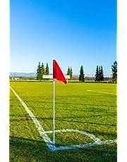 Futbol- Lote de 4 BANDERINES DE Corner - Postes Plegables - Color Rojo