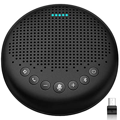 Bluetooth Speakerphone – eMeet Luna Speakerphone with Microphone w/Enhanced Noise Reduction Algorithm, Daisy Chain, w/Dongle USB Speakerphone for Home Office, 360° Voice Pickup for 8 People by eMeet