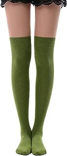 MK MEIKAN Women's Over Knee High Socks, Tube Dresses Fashion Cotton Thigh High Stockings Halloween Cosplay Socks
