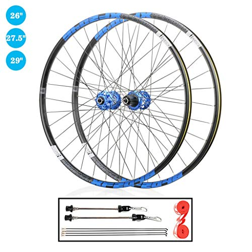 TianyiTrade 26 inch 27.5 inch 29 inch Mountain Bike Wheel Set QR Double Wall Rim Sealed Bearing Disc Brake Hub, for 1.7-2.4' Tyres 8-12 Speed Cassette (Size : 27.5')