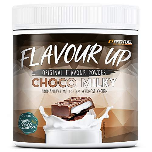 FLAVOUR UP | Geschmackspulver mit Chocolate Milky Flavour | Mit echten Schokostückchen | nur 12 kcal pro Portion – 280g Flavour Powder