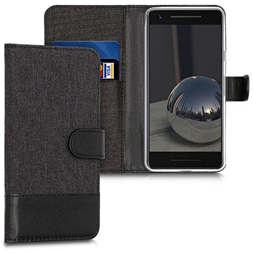kwmobile Hülle kompatibel mit Google Pixel 2 - Kunstleder Wallet Hülle mit Kartenfächern Stand in Anthrazit Schwarz