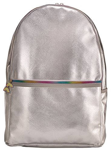 iscream Girls' Silver Metallic Faux Leather 18' x 12' Backpack for School and Travel with Laptop Pocket