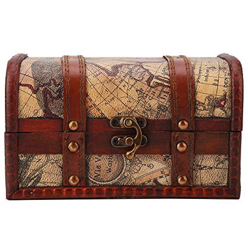 Fydun Cajas de Madera Pirata Cofre del Tesoro Caja de Madera Vintage Hecho a Mano joyería de Madera Decorativa Caja de Almacenamiento de decoración del hogar(#2)