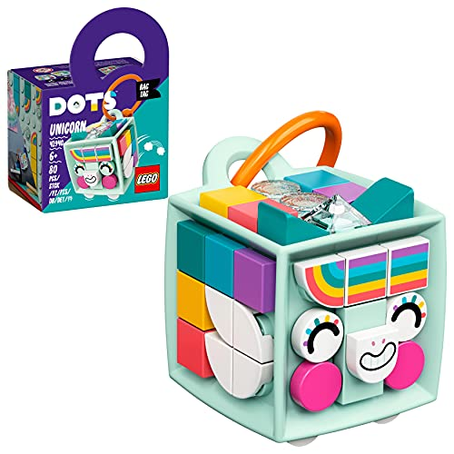 LEGO 41940 DOTS Taschenanhänger Einhorn Designspielzeug für Kinder, Schlüsselanhänger, Geschenkidee für Jungen und Mädchen ab 6, Kinderspielzeug