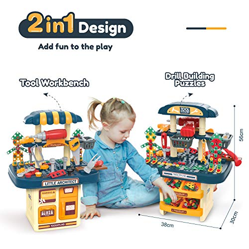 BFUNTOYS 246 PCs Kids Toddlers Toy Tool Bench Set for 2 3 4 Year Old Boys and Girls, 2 in 1 Kids Construction Toy Workbench with Building Blocks, Electric Drill, STEM Building Puzzles Work Shop Gifts