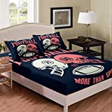 Football Sheet Set Double Helmets Fitted Sheet American All Stars Football Games Bedding Set For Kids Teen Boys Young Man More Than Sport Bed Cover With 2 Pillow Cases Queen Size Navy Blue