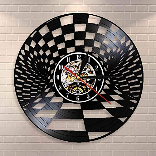 BFMBCHDJ Black And White Chess Board Wall Clock Checkers Vintage Vinyl Record Wall Clock Checkers Wall Decor Gift for Chess Lovers