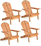 Giantex Folding Wood Adirondack Chair, Foldable Outdoor Wood Lounger Chair in Adult-Size, Perfect for Patio Garden Deck, Natural Burlywood Finish (4)
