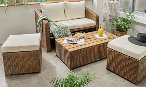 Destiny Lounge Jersey II Halfround Gartenmöbelset Loungeset 4teilig Sitzgruppe Polyrattan