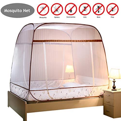 JZH-Light muggennet tweepersoonsbed baldakijn opvouwbare gratis installatie bed antimoskito bites 3 openingen aan de zijkant voor thuis op reis (180 * 200 * 165 cm)