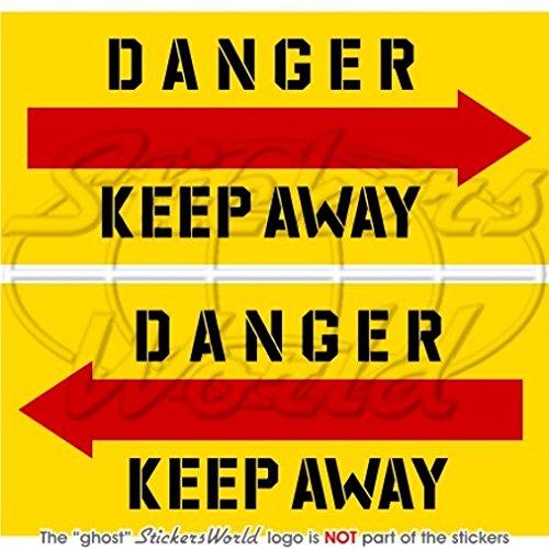 Danger Keep Away Hubschrauber Heckrotor 7,6cm (75mm) Vinyl Sticker, Aufkleber X2