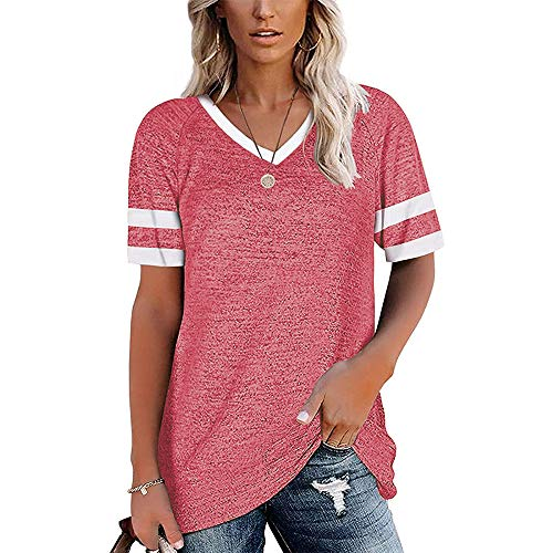 Mayntop Camiseta para mujer para verano, liso, de color liso, a rayas, suelta, talla grande, manga corta, cuello en V, blusa, A-rosa, 44