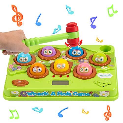 Juguete de Martillo, Whack The Mole Juegos Juguete, Juego Educativo de Desarrollo, Juego de Arcade electrónico con Martillo Juguetes para Golpear con Sonidos Luces Juguetes para niños Niña (A)