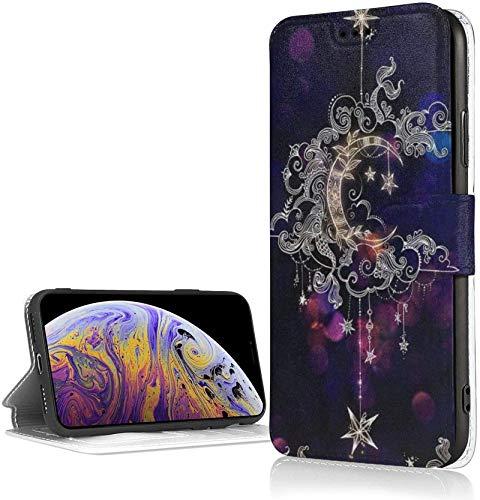 Bernice Winifred Estuche Magical Moon para iPhone XR Estuche con Billetera de Cuero PU de Lujo Estuche con Tapa Tipo Folio con Ranuras para Tarjetas Correa de muñeca