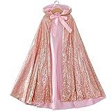 Kinder Umhang mit Kapuze für Mädchen, Pailletten, langer Umhang für Prinzessinnen-Kostüm,...