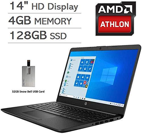 2020 HP Pavilion 14' HD LED Laptop Computer, AMD Athlon Silver 3050U Processor, 4GB RAM, 128GB SSD, AMD Radeon Graphics, USB-C, Stereo Speakers, Built-in Webcam, Win 10, Black, 32GB Snow Bell USB Card