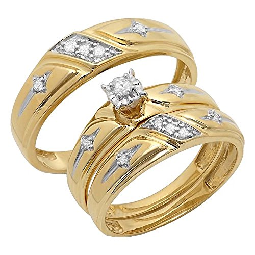 Dazzlingrock Collection Anillo de compromiso de oro amarillo de oro amarillo de 0,15 quilates (peso total) de 10 quilates con diamante blanco de corte redondo de hombres y mujeres