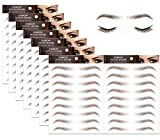 8 Sheets Eyebrow Tattoo Stickers,4D Hair-like Authentic Eyebrows Brown Eyebrow Stickers Natural Lazy Tattoo Waterproof for Woman Makeup Tool 72 Pairs (Medium Arch Eyebrow)
