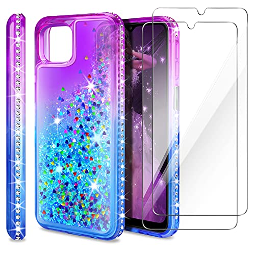 AROYI Cover Compatibile per Samsung Galaxy A22 5G (Non per A22 4G), 2 Pezzi Pellicola Protettiva in Vetro Temperato, Brillantini Diamond Sabbie Mobili TPU Silicone Custodia, Porpora Blu Gradient