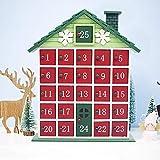 クリスマスカレンダー アドベントカレンダー 木製 カウントダウンカレンダー ハウス 子供キャンディーギフト グリーン 収納ボックスハウス 特別な装飾 引き出しラック 絶妙さと美しさの贈り物 41 32 6.5cm