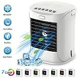 Aire Acondicionado Portátil Mini Enfriador de Aire con 3 Niveles de Potencia 7 Colores Luz,4 en 1 Air Cooler,Ventilador,Humidificador y Purificador para Trabajo y Hogar