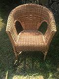 Sillón Bondoot de ratán natural, silla de comedor con reposabrazos, sillón de ratán trenzado