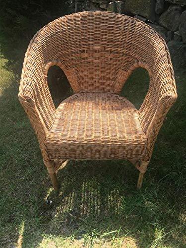 Sillón de ratán Bondoot natural, silla de comedor de mimbre con reposabrazos, sillón de ratán trenzado