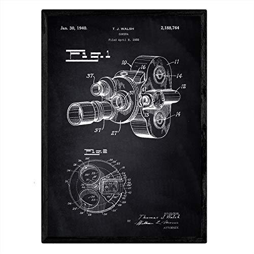 Nacnic Poster con patente de Camara de fotos 8 milimetros. Lámina con diseño de patente antigua en tamaño A3 y con fondo negro