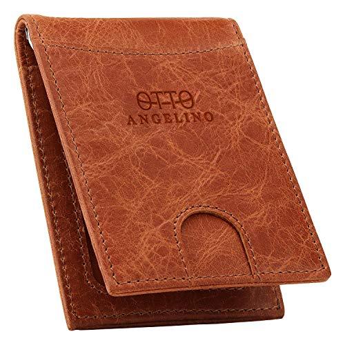 Otto Angelino Cartera con Clip de Dinero de Cuero Genuino Delgado - Protección Anti-RFID - Unisexo