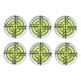 6Pcs/Set Bubble Level Bullseye Spirit Levels 32x7mm Degree Marked Surface Bubble Spirit Level Inclinometers for Camera Tripod Furniture Frame Level Measuring Instrument Layout Tool