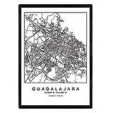 Nacnic Lámina Mapa de la Ciudad Guadalajara Estilo nordico en Blanco y Negro. Poster tamaño A3 Sin Marco Impreso Papel 250 gr. Cuadros, láminas y Posters para Salon y Dormitorio