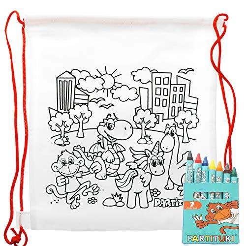 25 Mochilas para Colorear Infantiles y 25 Sets de 7 Ceras de Colores Partituki. Con Certificado CE de no Toxicidad. Detalles para Cumpleaños Infantiles