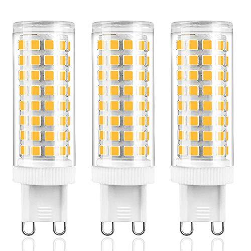 ZJYX Bombillas LED G9 de 10W, 100 W Bombilla Halógena Equivalente, 1000LM, Sin Parpadeos, 360° Ángulo de Haz Omni Directional, No Regulable, AC 100-240V Pack de 3 Unidades,Natural White 4500k