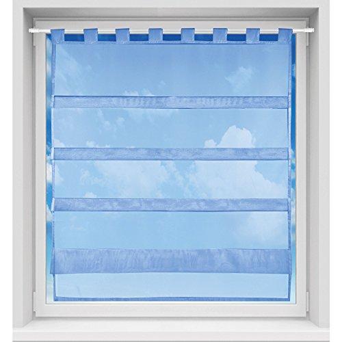 Bistrogardine in transparent mit Raffoptik, einfarbige und lichtdurchlässige Voile-Scheibengardine mit Schlaufe, in vielen Größen verfügbar (90 x 110 cm/blau - aquablau)
