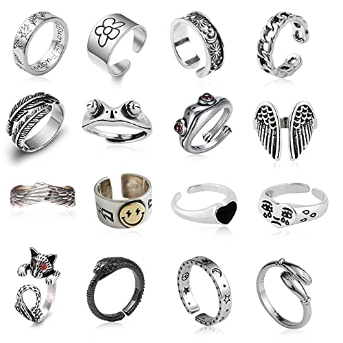 16 Pcs Silver Plated Frog Rings Set, Cute Animal Open Rings Pack, Vintage Goth Y2k Matching Rings, Cute and Stylish, Snake, Hug, Smiley Face, Moon and Sun Rings for Couples, Gift for Women Men Girls