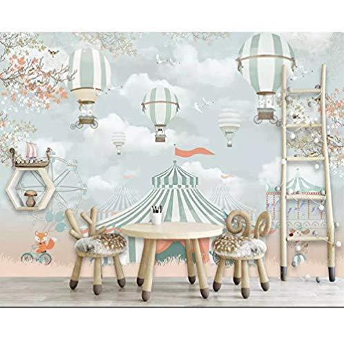 Cartoon 3D Wallpaper Wandbild Heißluftballon Spielplatz Zirkus Tier Kinderzimmer für Kinderzimmer Imitation Seidentuch fototapete 3d Tapete effekt Vlies wandbild Schlafzimmer-300cm×210cm
