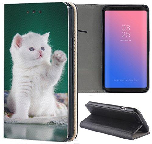 Samsung Galaxy S3 / S3 Neo Hülle Premium Smart Einseitig Flipcover Hülle Samsung S3 Neo Flip Case Handyhülle Samsung S3 Motiv (1428 Katze Katzen Baby Kätzchen Weiß Grün)