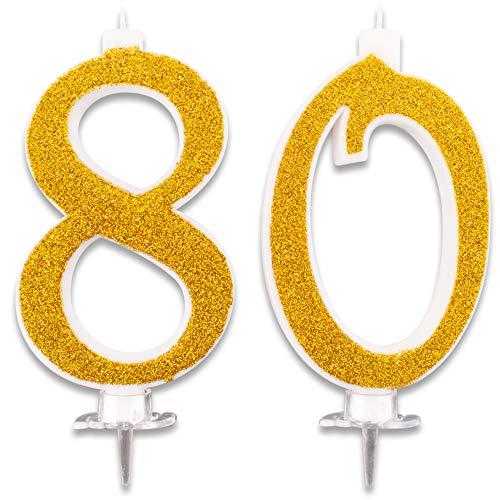 Candeline Maxi 80 Anni per Torta Festa Compleanno 80 | DecorazioniCandele Auguri | Idee Festa a Tema | Altezza 13 CM Oro Glitter