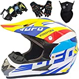 KILCVEM Casco Motocross Niño, Casco Cross de Moto para Infantil con Gafas Guantes Máscara, Casco MTB Integral Mujer Hombre Casco Downhill Enduro - UFO Azul - Tamaño: S-XL / 52-59CM,XL