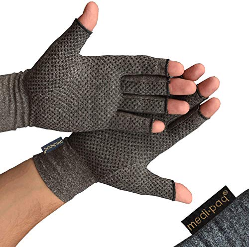 Medipaq Rękawice przeciwstawne (para) - rękawiczki bez palców dla zapalenia stawów, zapewniające ciepło i kompresję - duże z uchwytem