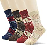 Jinny's Socks Women's Casual Cute Colorful Cotton Funny Crew Novelty Ankle Socks Warm Soft Comfortable fall winter Patterned Printed Design Socks for Women Girls (Reindeer)